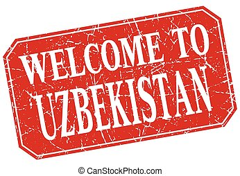 welcome to Uzbekistan red square grunge stamp