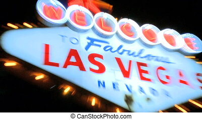 Welcome to Vegas sign at night - zoom in/out (2 of 2)