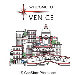 Welcome to Venice poster in linear style - Welcome to Venice...