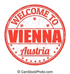 Welcome to Vienna, Austria stamp