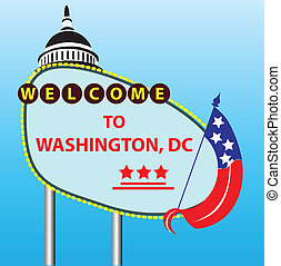 Stand Welcome to Washington, DC. Vector illustration.