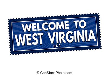 Welcome to West Virginia travel sticker or stamp