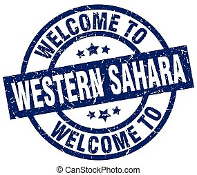welcome to Western Sahara blue stamp
