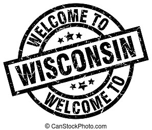 welcome to Wisconsin black stamp