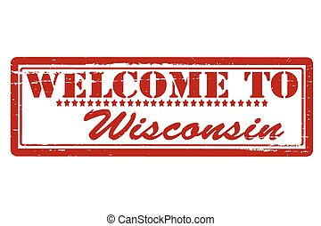 Rubber stamps with text welcome to Wisconsin inside, vector illustration