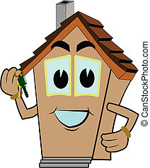 welcome to your new home - house cartoon holding keys to new...