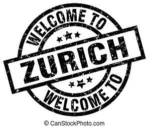 welcome to Zurich black stamp