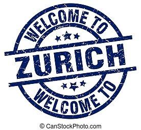 welcome to Zurich blue stamp