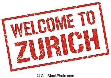 welcome to Zurich stamp