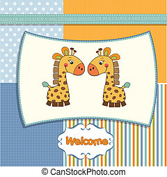 welcome twins baby card with giraff