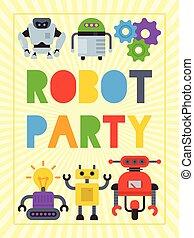 welcome., vecteur, illustration., technology., onduler, robotique, chien, artificiel, robot, anniversaire, conception, celebration., affiche, intelligence, fête, ami, gosse, futuriste, heureux
