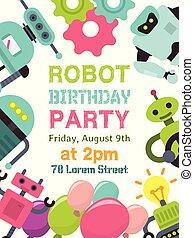 welcome., vecteur, illustration., technology., onduler, robotique, robot, artificiel, children., anniversaire, humanoïdes, gosse, affiche, intelligence, fête, heureux, futuriste, célébration