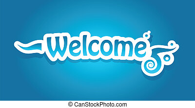 Welcome vector lettering on blue background. Vector...