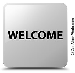 Welcome white square button