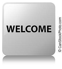 Welcome white square button
