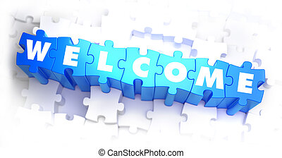Welcome - White Word on Blue Puzzles.