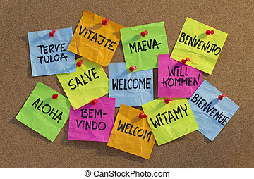 welcome in a dozen of languages (Finnish, Slovak, Tahitian, Italian, Latin, English, German, Hawaiian, Portuguese, Dutch, Polish, French) - cloud of colorful sticky notes on cork bulletin board, low angle contrasty light