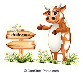 Welcome wood sign with a happy cow Vector illustrations