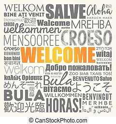 WELCOME word cloud in different languages, concept ...