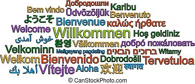 WELCOME word cloud in many different languages