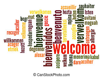 Welcome Word Cloud - Welcome word cloud in different...