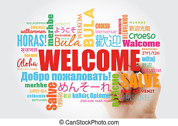 WELCOME word cloud with marker