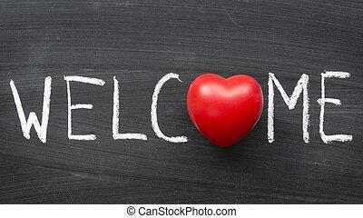 welcome word handwritten on blackboard with heart symbol ...