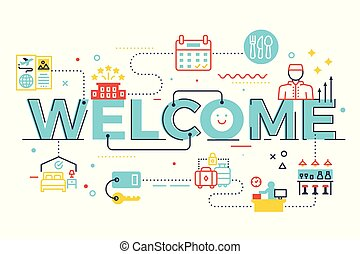 Welcome word lettering illustration