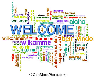 Welcome word tags - Illustration of wordcloud of welcome in...