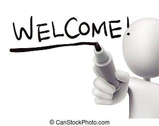 welcome word written by 3d man