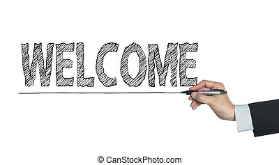 welcome written by hand