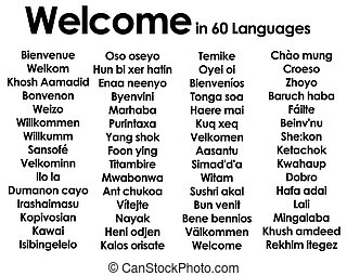 Welcome written in 60 different languages - Welcome written...