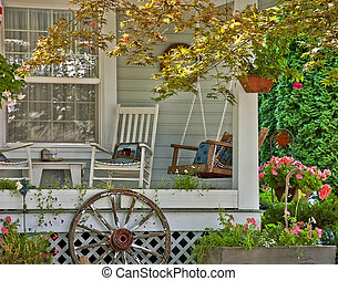 Welcoming Classic White Porch Scene - This cute welcoming...