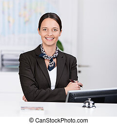 Welcoming friendly receptionist - Welcoming confident...