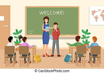 Welcoming new schoolboy vector illustration. Female teacher...