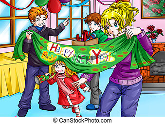 Welcoming New Years - Illustration of a happy family ...