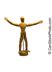 welcoming wooden mannequin, puppet, isolated