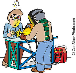 weld flash - A man being blinded by welder flash not...