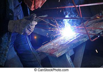 weld machine worker hard industry business