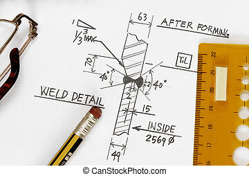 Weld symbol - Welding symbol detail drawing with pencil and ...