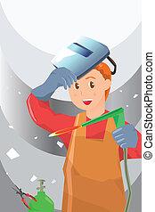 Welder - A vector illustration of a working welder