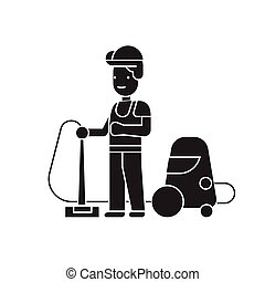 Welder and accessories black vector concept icon. Welder and accessories flat illustration, sign