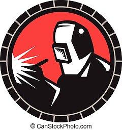 Welder Arc Welding Circle Retro - Illustration of welder arc...