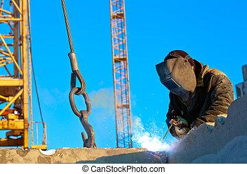 Welder at work - Builder worker welder during installation ...
