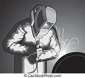 Welder at Work - Illustration of a welder welding. Vector...