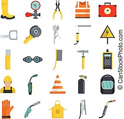 Welder equipment icons set vector isolated