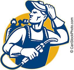 Welder Fabricator Welding Retro Style - Illustration of a...
