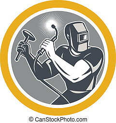 Illustration of welder worker working using welding torch holding hammer viewed from front set inside circle on isolated background done in retro style.