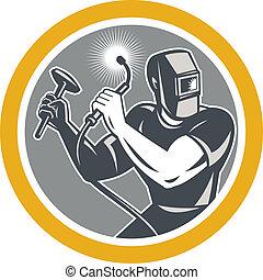 Welder Fabricator Welding Torch Hammer - Illustration of...