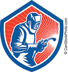 Illustration of welder worker working using welding torch viewed from side set inside shield on isolated background done in retro style.